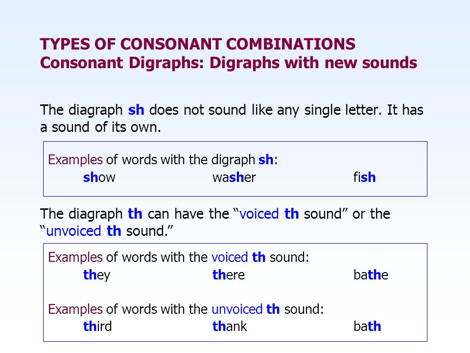 TYPES OF CONSONANT COMBINATIONS Consonant Digraphs: Digraphs with new sounds The diagraph sh does not sound like any single letter. It has a sound of