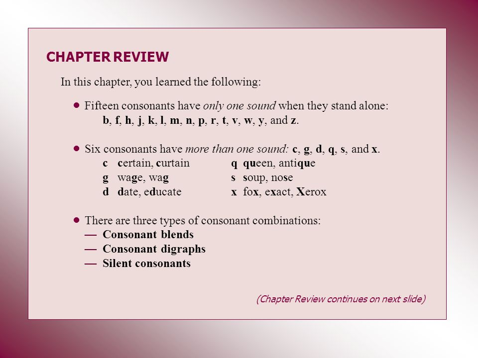 CHAPTER REVIEW In this chapter, you learned the following: Fifteen consonants have only one sound when they stand alone: b, f, h, j, k, l, m, n, p, r,