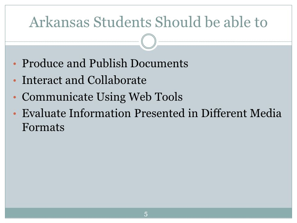 Arkansas Students Should be able to Produce and Publish Documents Interact and Collaborate Communicate Using Web Tools Evaluate Information Presented in Different Media Formats 5