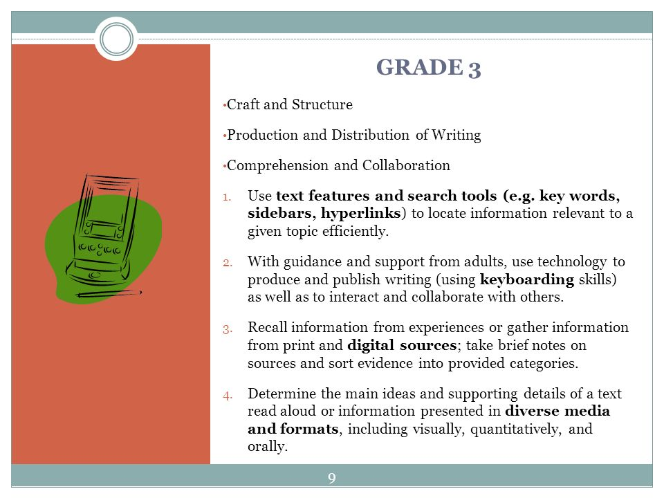 GRADE 3 Craft and Structure Production and Distribution of Writing Comprehension and Collaboration 1.