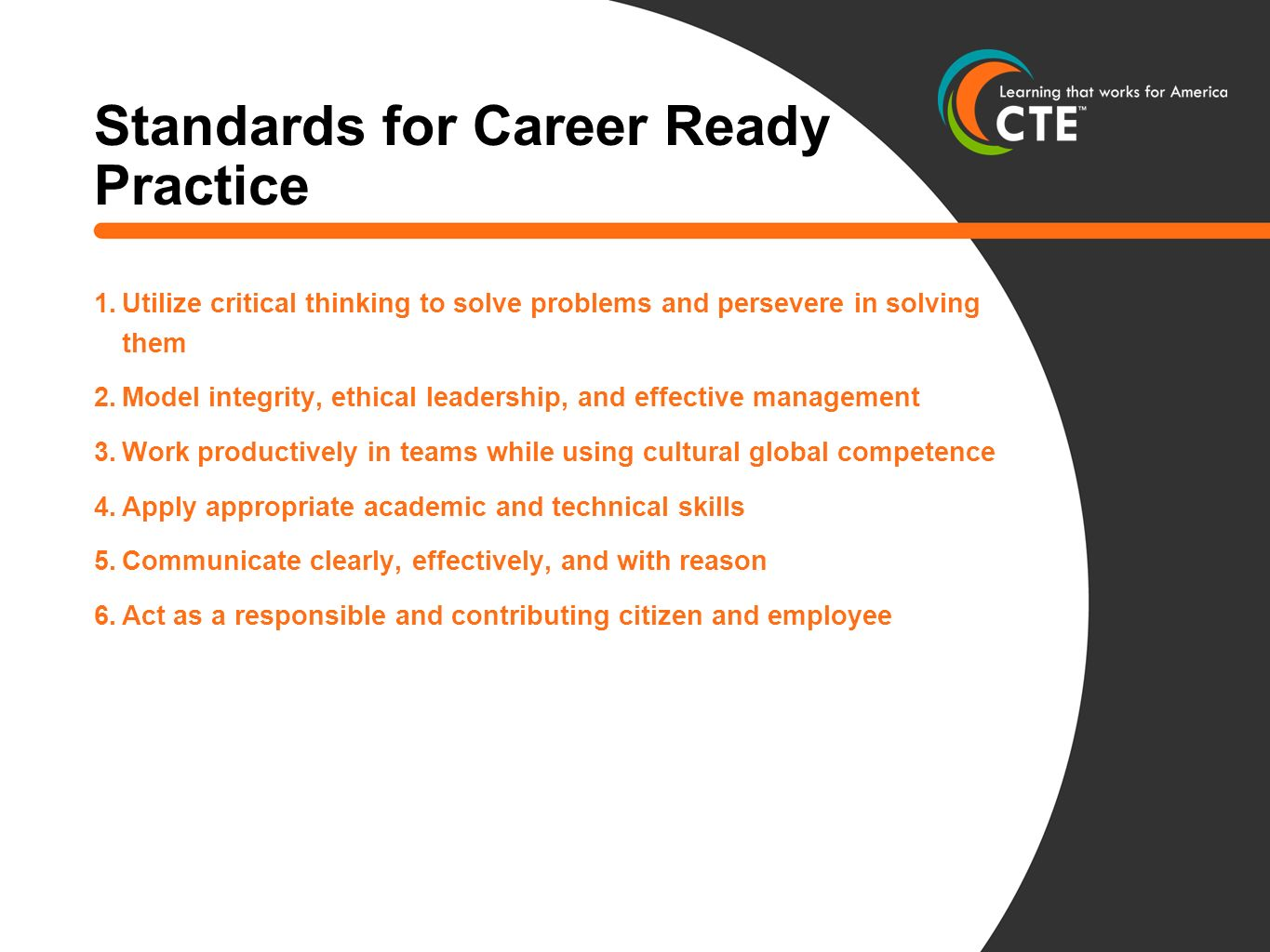 Standards for Career Ready Practice 1.Utilize critical thinking to solve problems and persevere in solving them 2.Model integrity, ethical leadership, and effective management 3.Work productively in teams while using cultural global competence 4.Apply appropriate academic and technical skills 5.Communicate clearly, effectively, and with reason 6.Act as a responsible and contributing citizen and employee