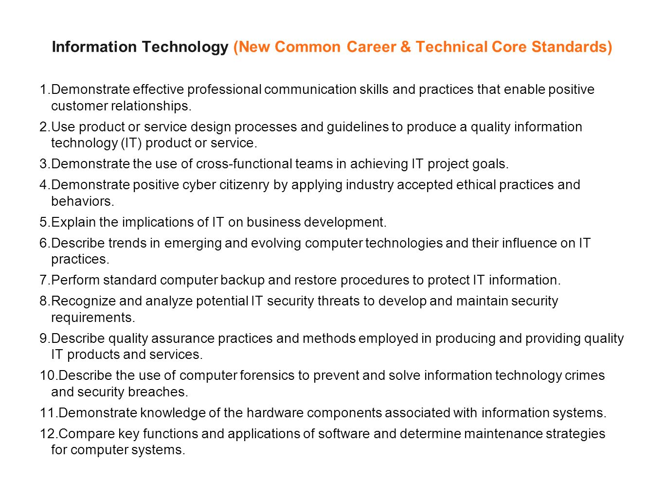 Information Technology (New Common Career & Technical Core Standards) 1.Demonstrate effective professional communication skills and practices that enable positive customer relationships.