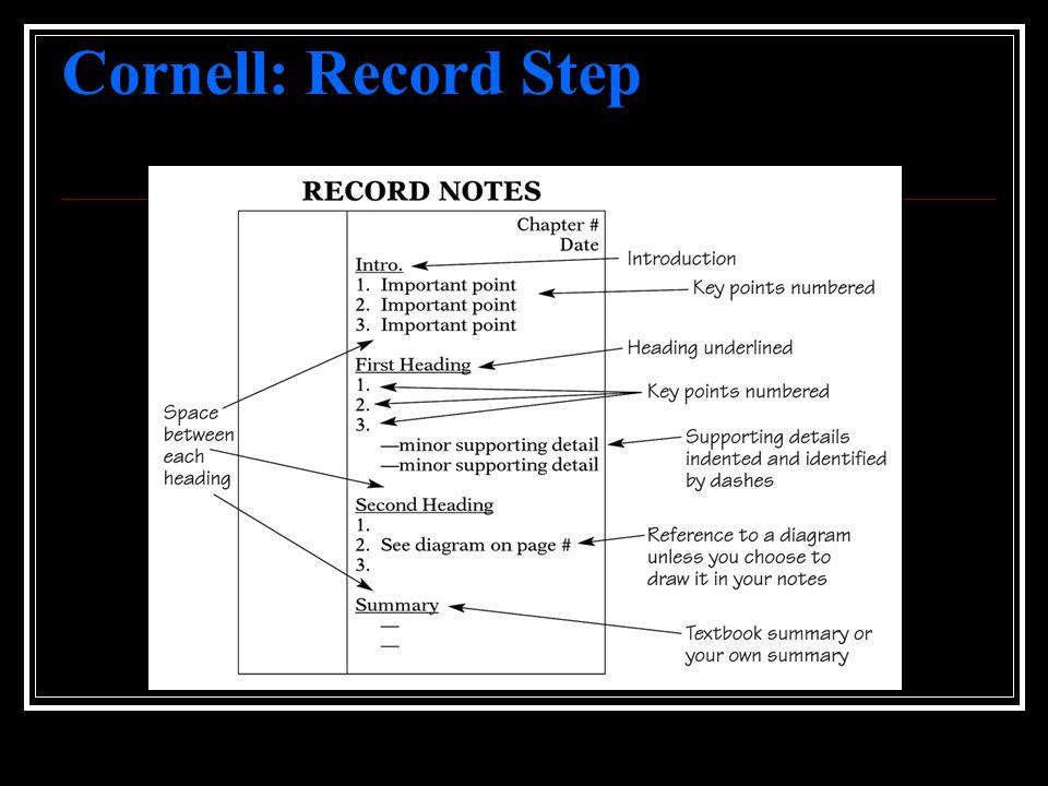 Cornell: Record Step
