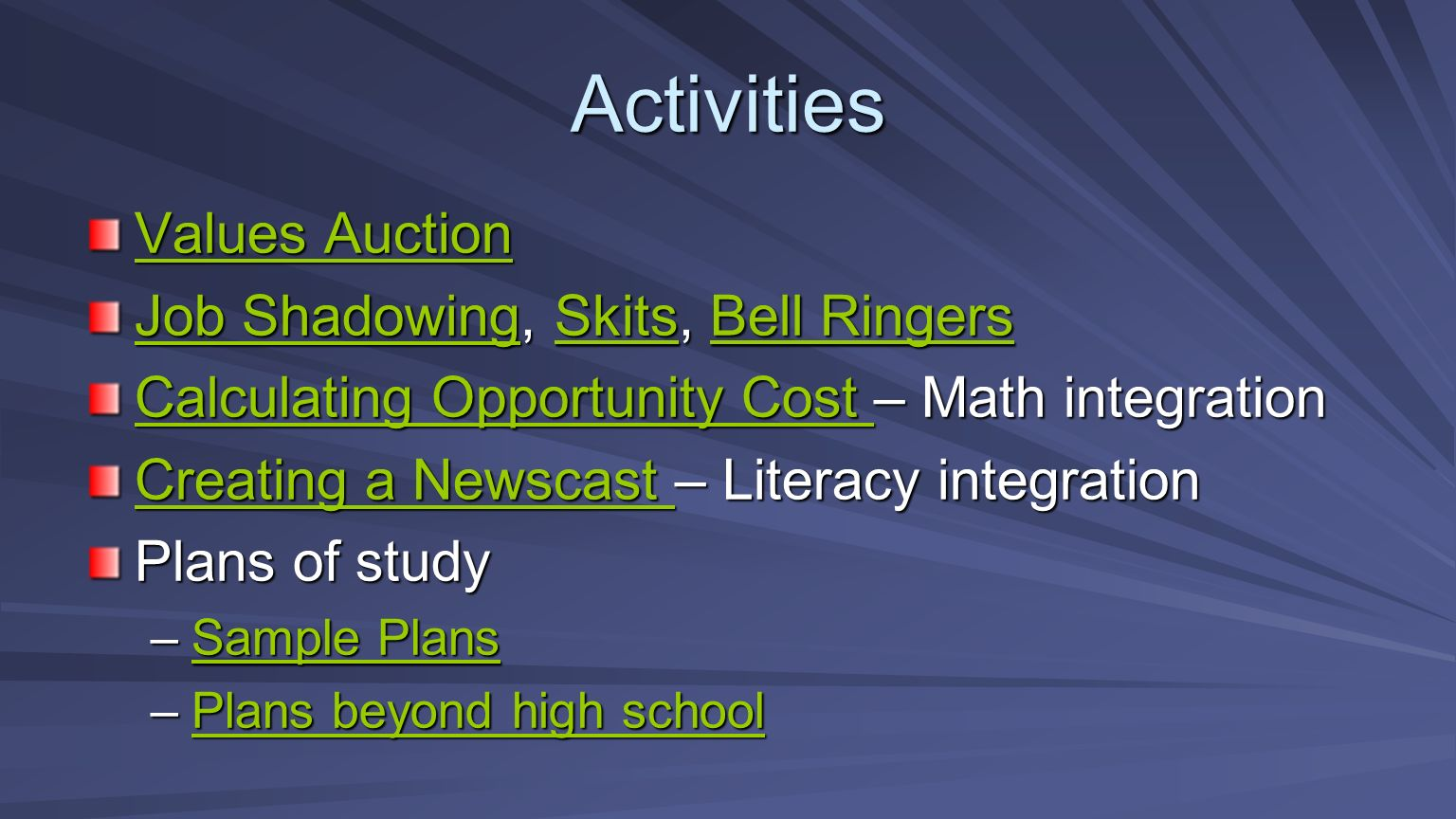 Activities Values Auction Values Auction Job ShadowingJob Shadowing, Skits, Bell Ringers SkitsBell Ringers Job ShadowingSkitsBell Ringers Calculating Opportunity Cost Calculating Opportunity Cost – Math integration Calculating Opportunity Cost Creating a Newscast Creating a Newscast – Literacy integration Creating a Newscast Plans of study –Sample Plans Sample PlansSample Plans –Plans beyond high school Plans beyond high schoolPlans beyond high school