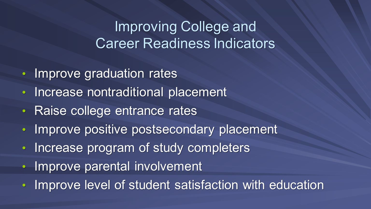 Improving College and Career Readiness Indicators Improve graduation rates Improve graduation rates Increase nontraditional placement Increase nontrad