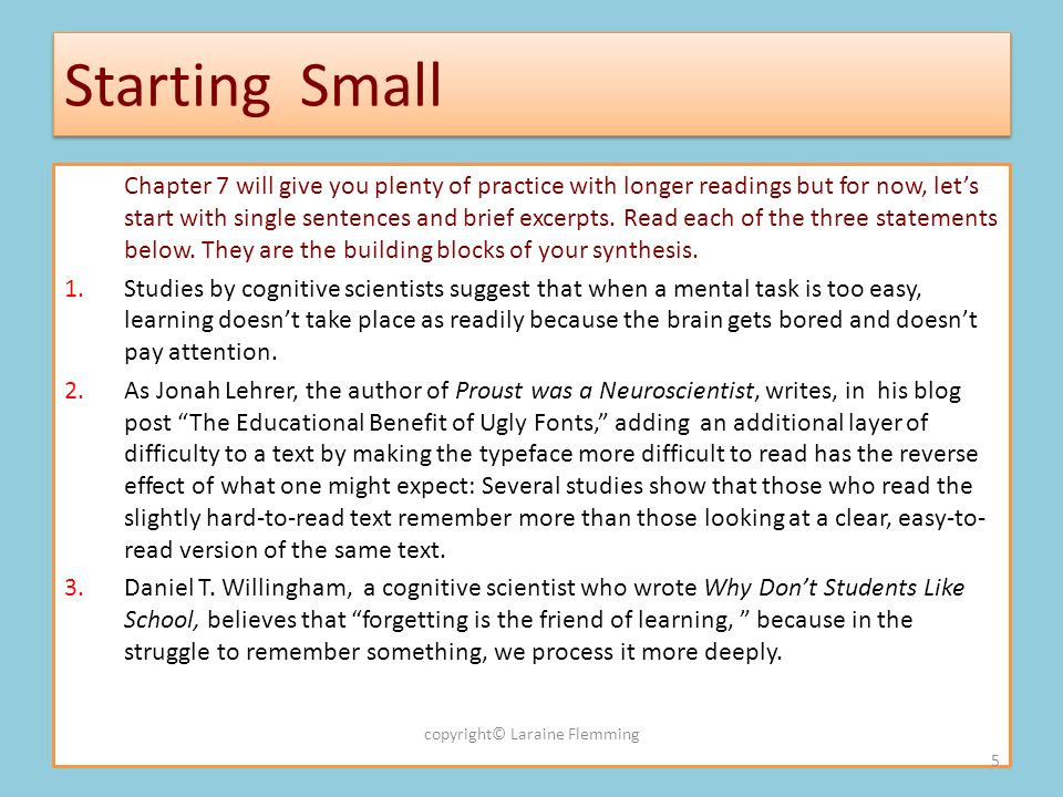 Starting Small Chapter 7 will give you plenty of practice with longer readings but for now, lets start with single sentences and brief excerpts.