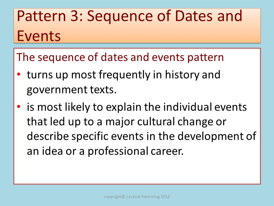 Pattern 3: Sequence of Dates and Events The sequence of dates and events pattern turns up most frequently in history and government texts. is most lik