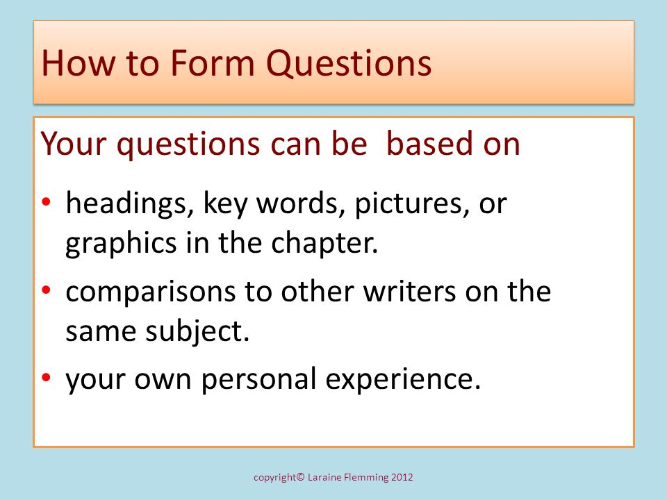 1.2 Use Questions to Get Started Paraphrasing 1.Whats the subject.
