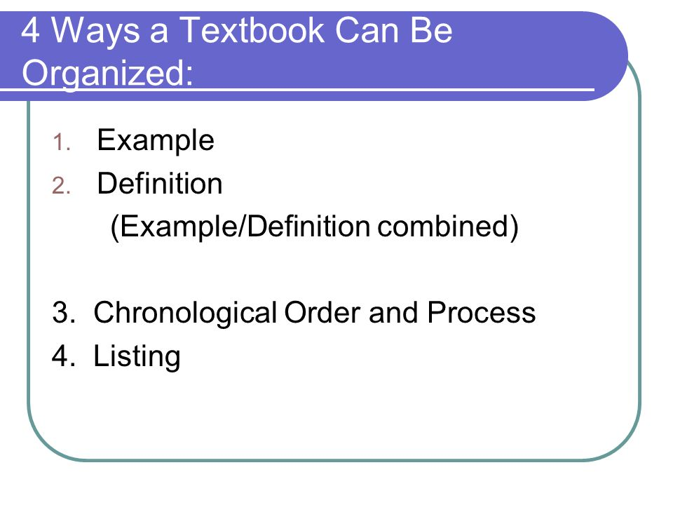 4 Ways a Textbook Can Be Organized: 1. Example 2.