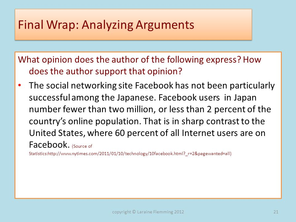 Final Wrap: Analyzing Arguments What opinion does the author of the following express? How does the author support that opinion? The social networking