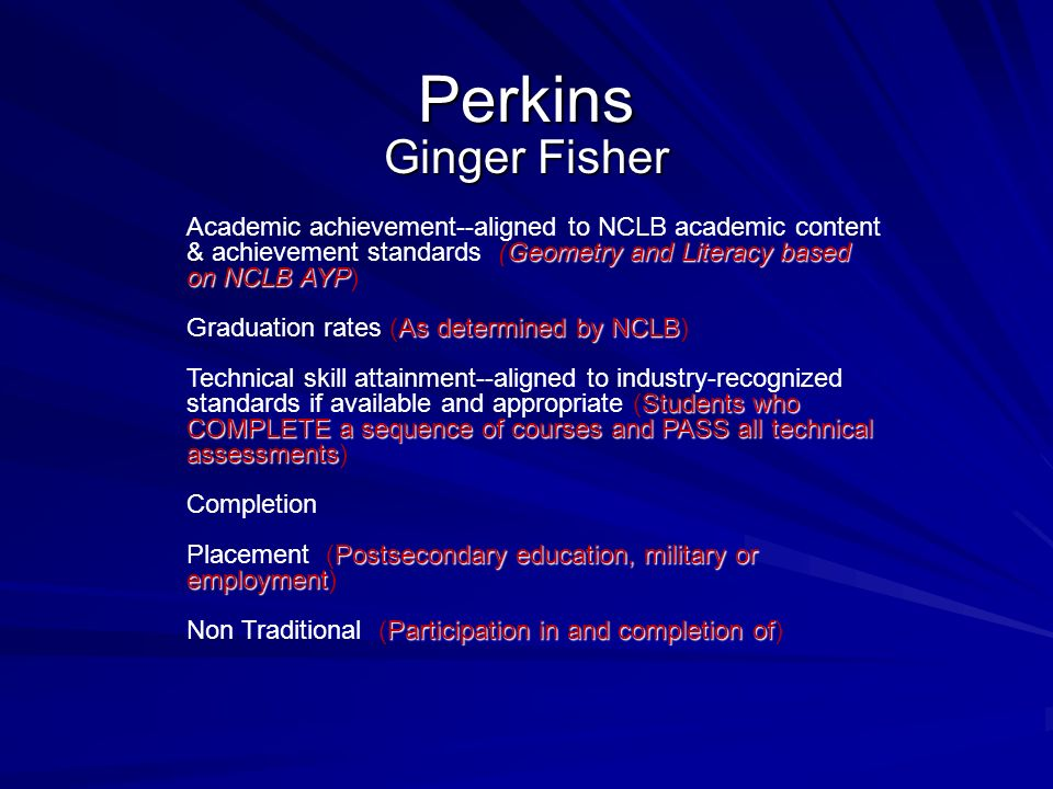 Perkins Ginger Fisher Geometry and Literacy based on NCLB AYP Academic achievement--aligned to NCLB academic content & achievement standards (Geometry