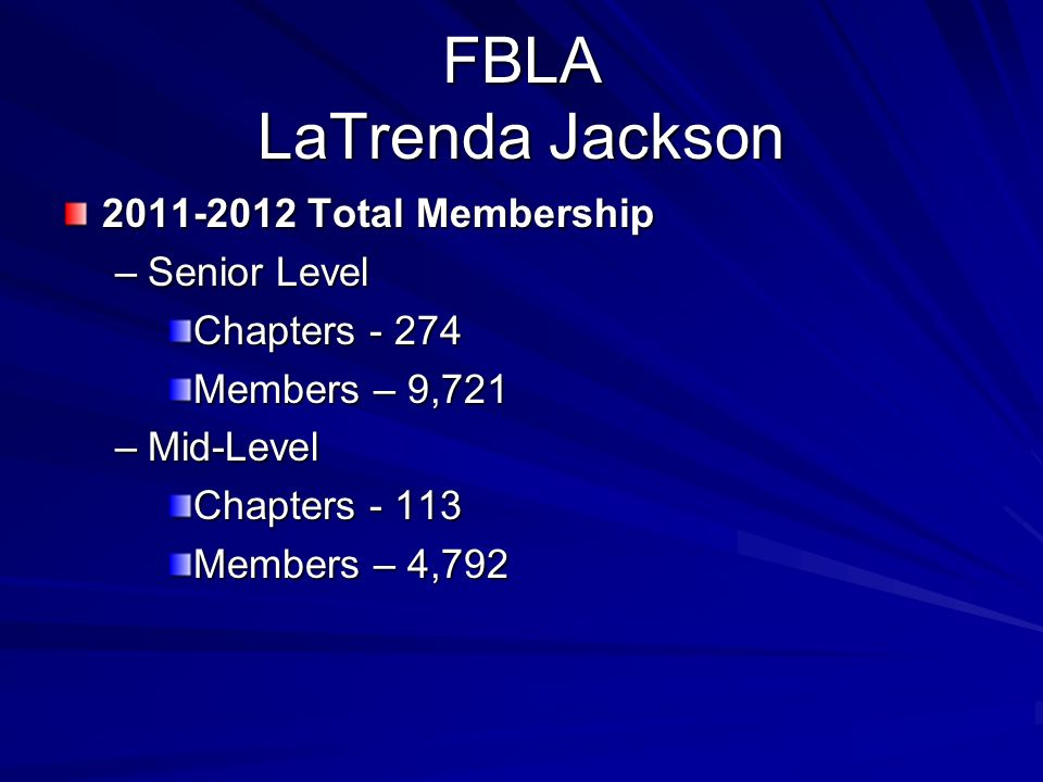 FBLA LaTrenda Jackson 2011-2012 Total Membership –Senior Level Chapters - 274 Members – 9,721 –Mid-Level Chapters - 113 Members – 4,792
