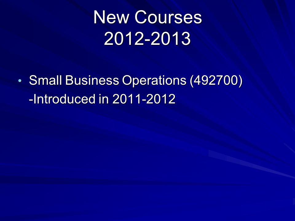 Name Changes 2012-2013 Enterprise Management will be changed back to Entrepreneurship Enterprise Management will be changed back to Entrepreneurship