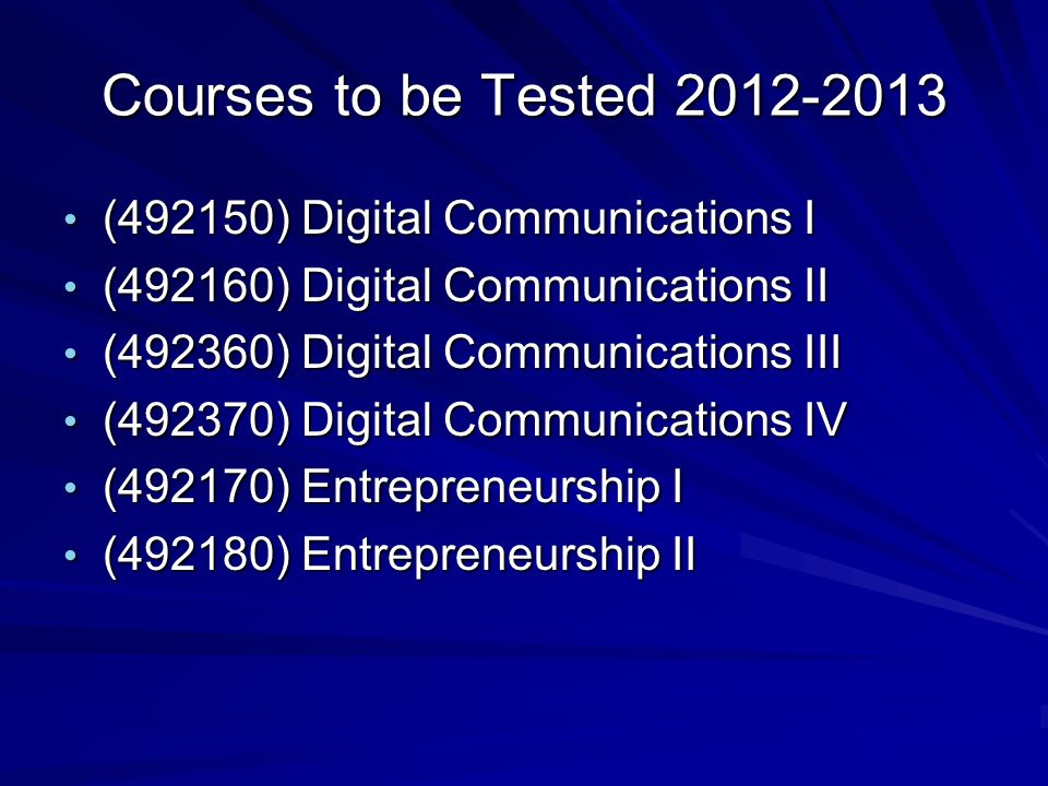 Courses to be Tested 2012-2013 (492150) Digital Communications I (492150) Digital Communications I (492160) Digital Communications II (492160) Digital