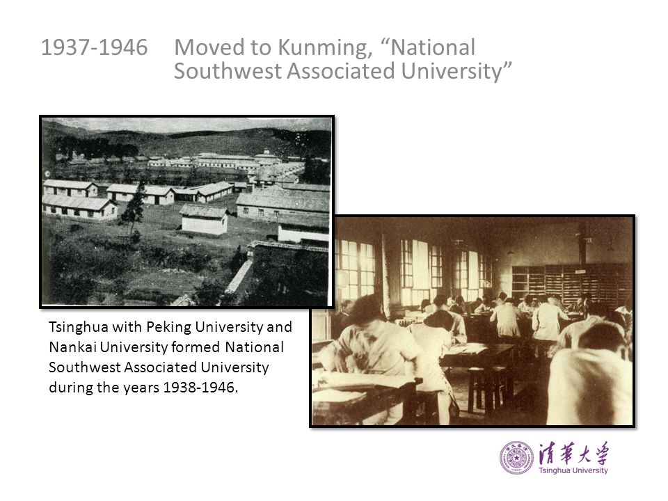 1937-1946Moved to Kunming, National Southwest Associated University Tsinghua with Peking University and Nankai University formed National Southwest As