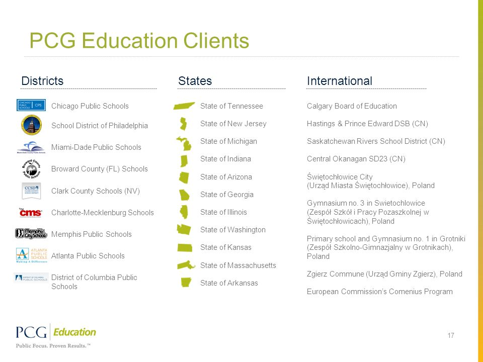 PCG Education Clients 17 States State of Tennessee State of New Jersey State of Michigan State of Indiana State of Arizona State of Georgia State of I
