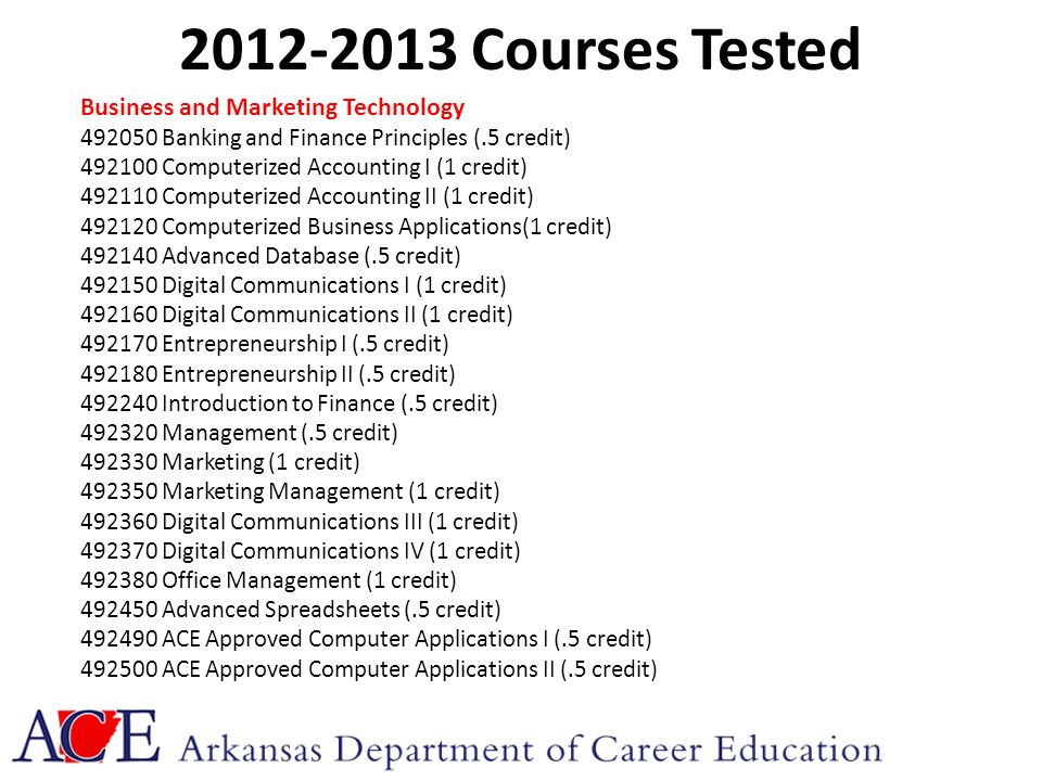 2012-2013 Courses Tested Business and Marketing Technology 492050 Banking and Finance Principles (.5 credit) 492100 Computerized Accounting I (1 credit) 492110 Computerized Accounting II (1 credit) 492120 Computerized Business Applications(1 credit) 492140 Advanced Database (.5 credit) 492150 Digital Communications I (1 credit) 492160 Digital Communications II (1 credit) 492170 Entrepreneurship I (.5 credit) 492180 Entrepreneurship II (.5 credit) 492240 Introduction to Finance (.5 credit) 492320 Management (.5 credit) 492330 Marketing (1 credit) 492350 Marketing Management (1 credit) 492360 Digital Communications III (1 credit) 492370 Digital Communications IV (1 credit) 492380 Office Management (1 credit) 492450 Advanced Spreadsheets (.5 credit) 492490 ACE Approved Computer Applications I (.5 credit) 492500 ACE Approved Computer Applications II (.5 credit)