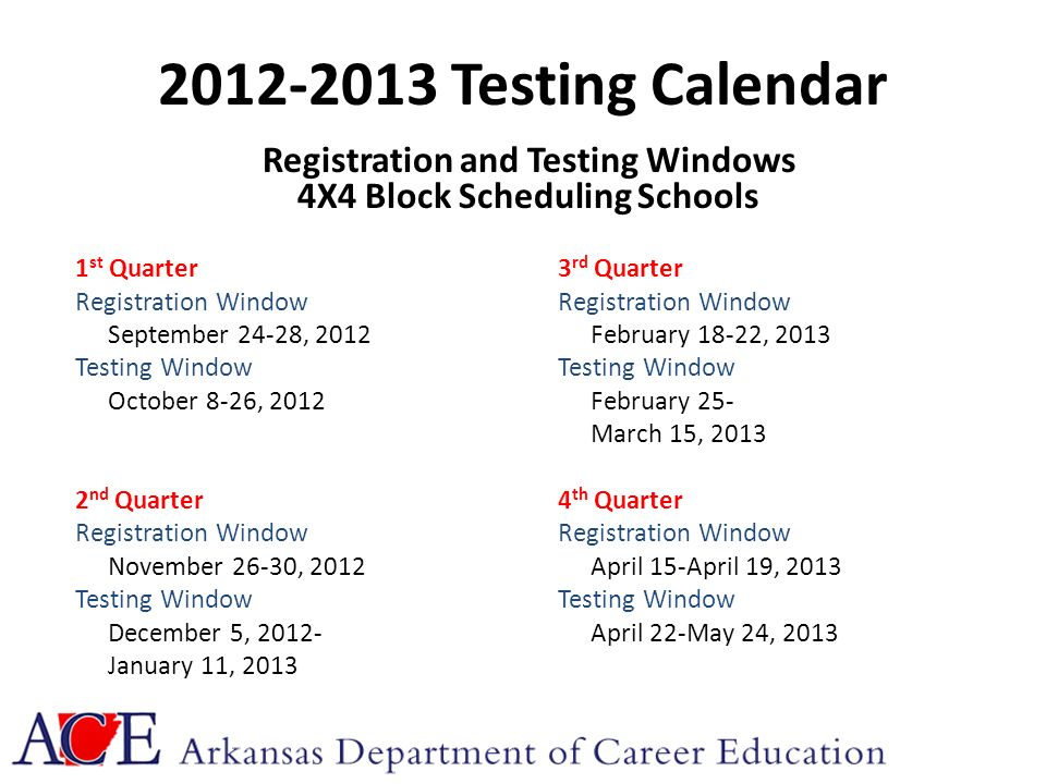 2012-2013 Testing Calendar Registration and Testing Windows 4X4 Block Scheduling Schools 1 st Quarter3 rd QuarterRegistration Window September 24-28, 2012February 18-22, 2013Testing Window October 8-26, 2012February 25- March 15, 2013 2 nd Quarter4 th QuarterRegistration Window November 26-30, 2012April 15-April 19, 2013Testing Window December 5, 2012-April 22-May 24, 2013 January 11, 2013