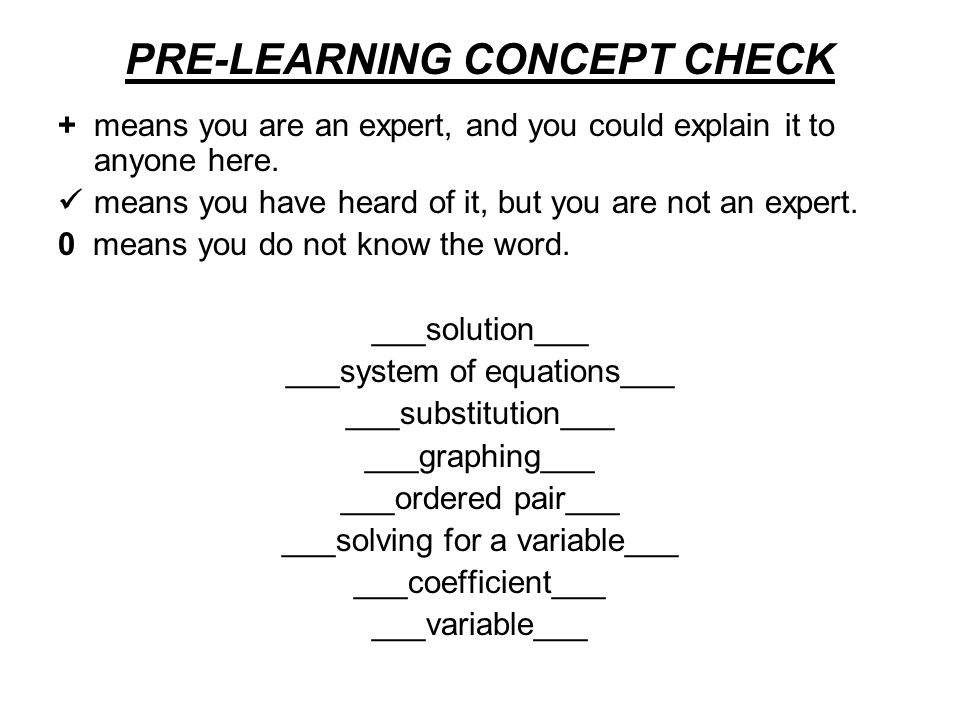 PRE-LEARNING CONCEPT CHECK + means you are an expert, and you could explain it to anyone here. means you have heard of it, but you are not an expert.