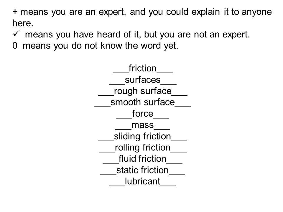 + means you are an expert, and you could explain it to anyone here. means you have heard of it, but you are not an expert. 0 means you do not know the