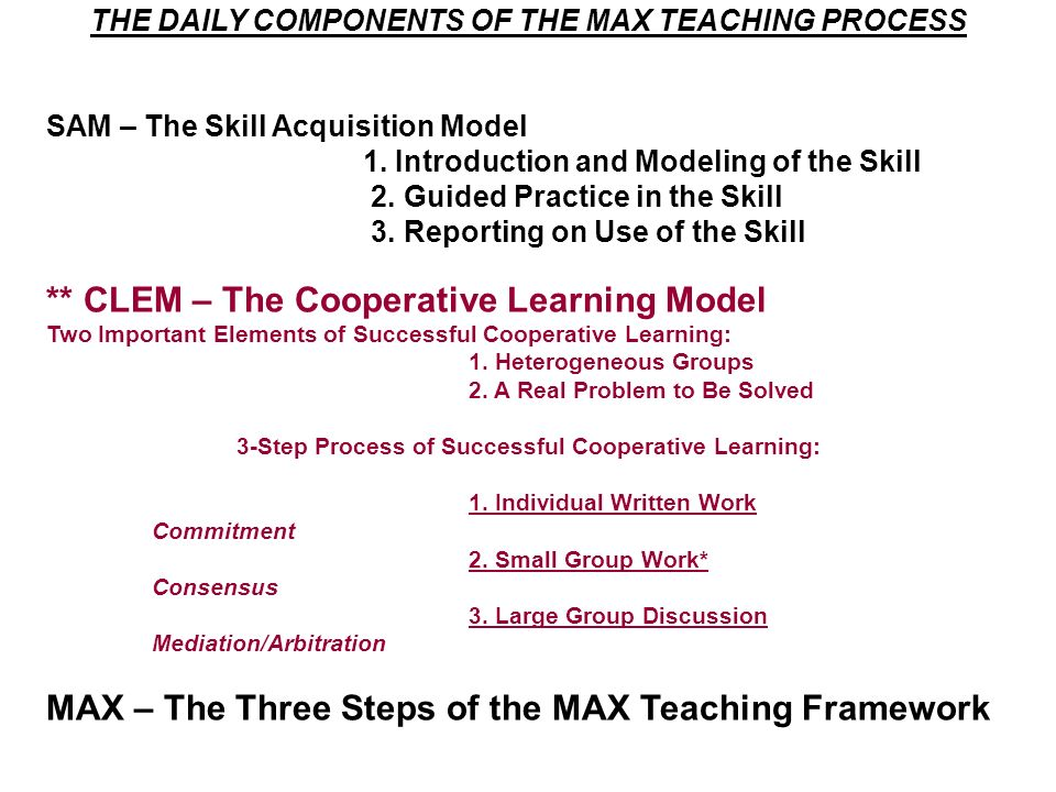 THE DAILY COMPONENTS OF THE MAX TEACHING PROCESS SAM – The Skill Acquisition Model 1. Introduction and Modeling of the Skill 2. Guided Practice in the