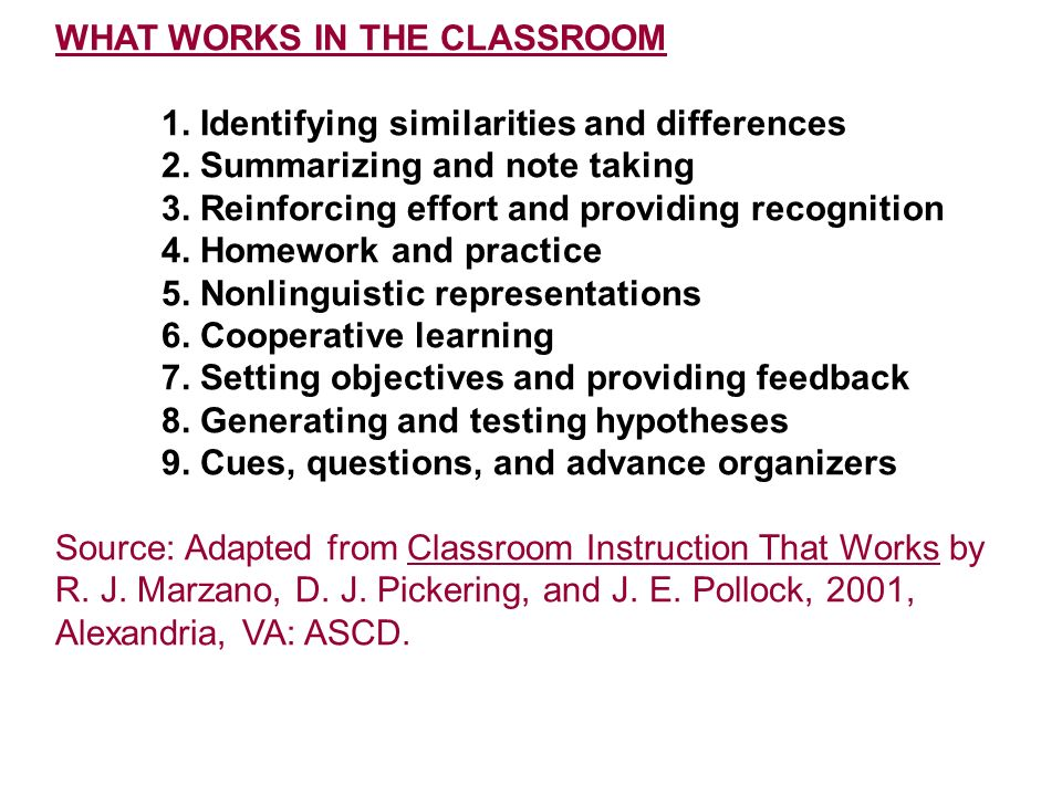 WHAT WORKS IN THE CLASSROOM 1. Identifying similarities and differences 2. Summarizing and note taking 3. Reinforcing effort and providing recognition