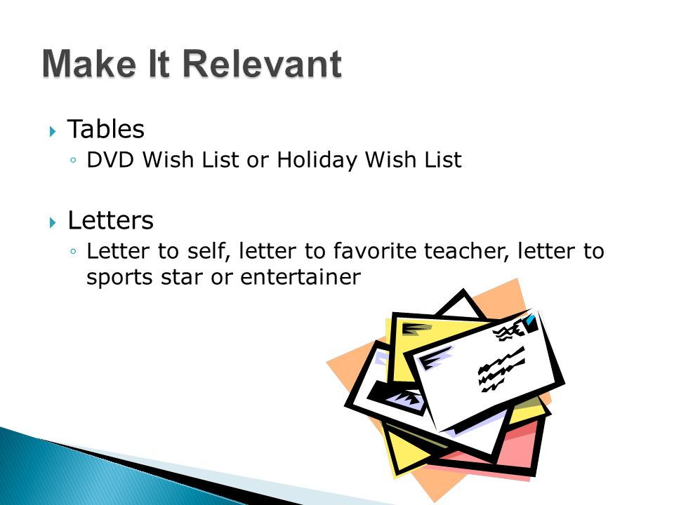 Tables DVD Wish List or Holiday Wish List Letters Letter to self, letter to favorite teacher, letter to sports star or entertainer