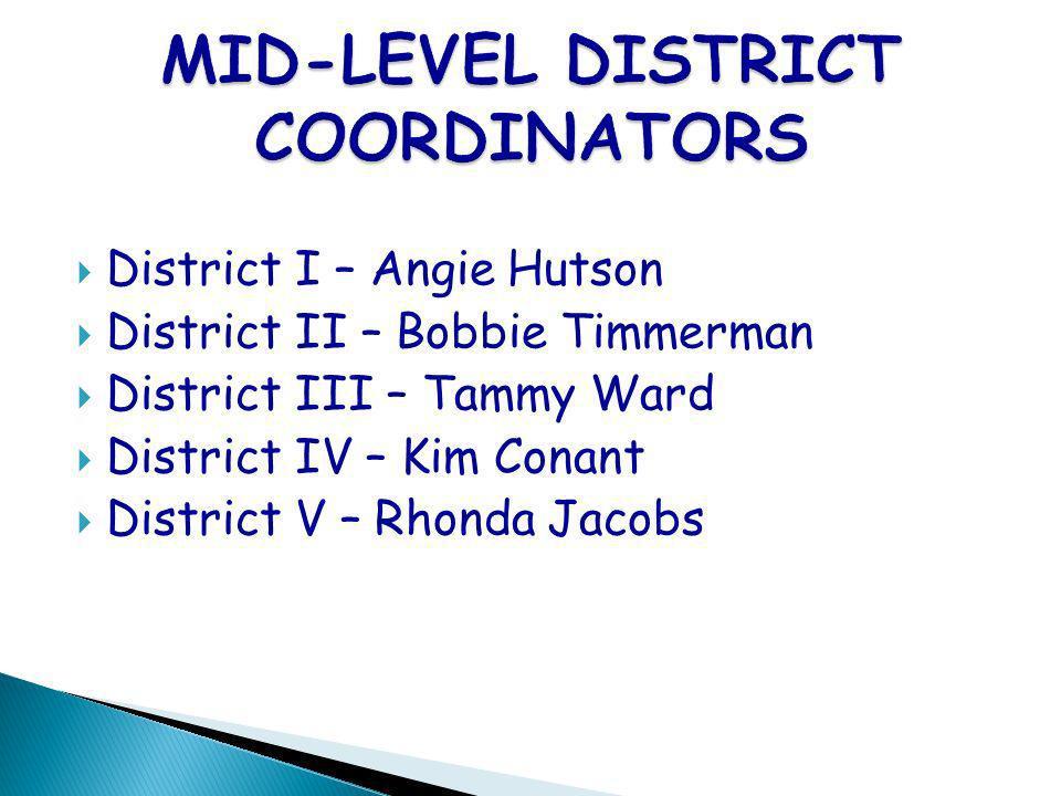 District I – Angie Hutson District II – Bobbie Timmerman District III – Tammy Ward District IV – Kim Conant District V – Rhonda Jacobs