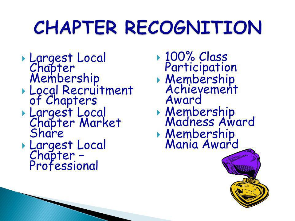 Largest Local Chapter Membership Local Recruitment of Chapters Largest Local Chapter Market Share Largest Local Chapter – Professional 100% Class Part