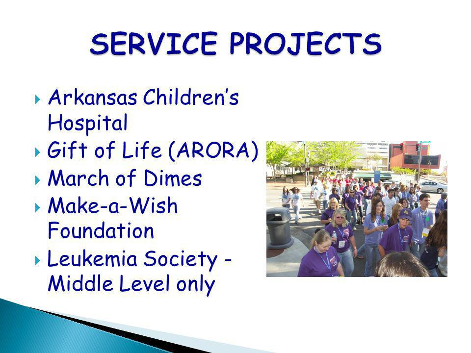 Arkansas Childrens Hospital Gift of Life (ARORA) March of Dimes Make-a-Wish Foundation Leukemia Society - Middle Level only