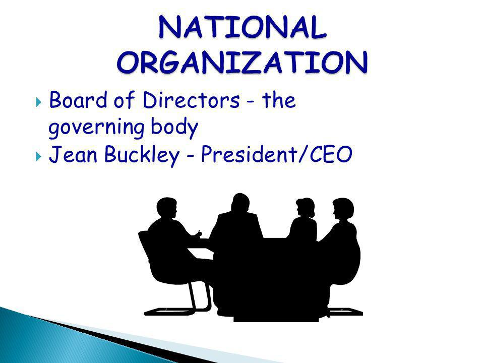 Board of Directors - the governing body Jean Buckley - President/CEO