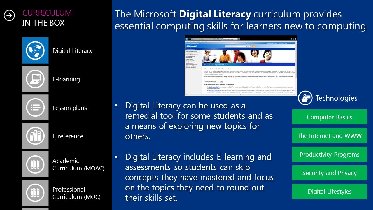 CURRICULUM IN THE BOX The Microsoft Digital Literacy curriculum provides essential computing skills for learners new to computing Computer Basics Technologies The Internet and WWW Productivity Programs Security and Privacy Digital Lifestyles Digital Literacy E-learning Lesson plans E-reference Academic Curriculum (MOAC) Professional Curriculum (MOC) Digital Literacy can be used as a remedial tool for some students and as a means of exploring new topics for others.