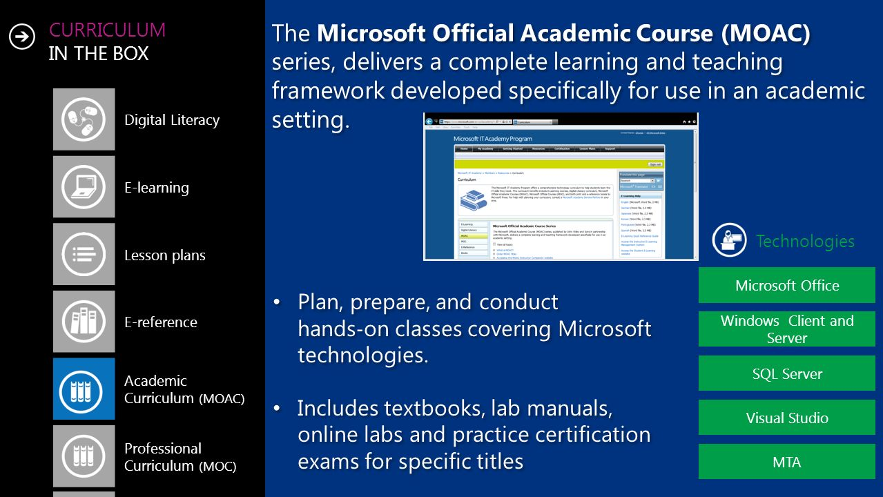 CURRICULUM IN THE BOX Digital Literacy E-learning Lesson plans E-reference Academic Curriculum (MOAC) Professional Curriculum (MOC) Microsoft Office Technologies Windows Client and Server SQL Server Visual Studio MTA The Microsoft Official Academic Course (MOAC) series, delivers a complete learning and teaching framework developed specifically for use in an academic setting.