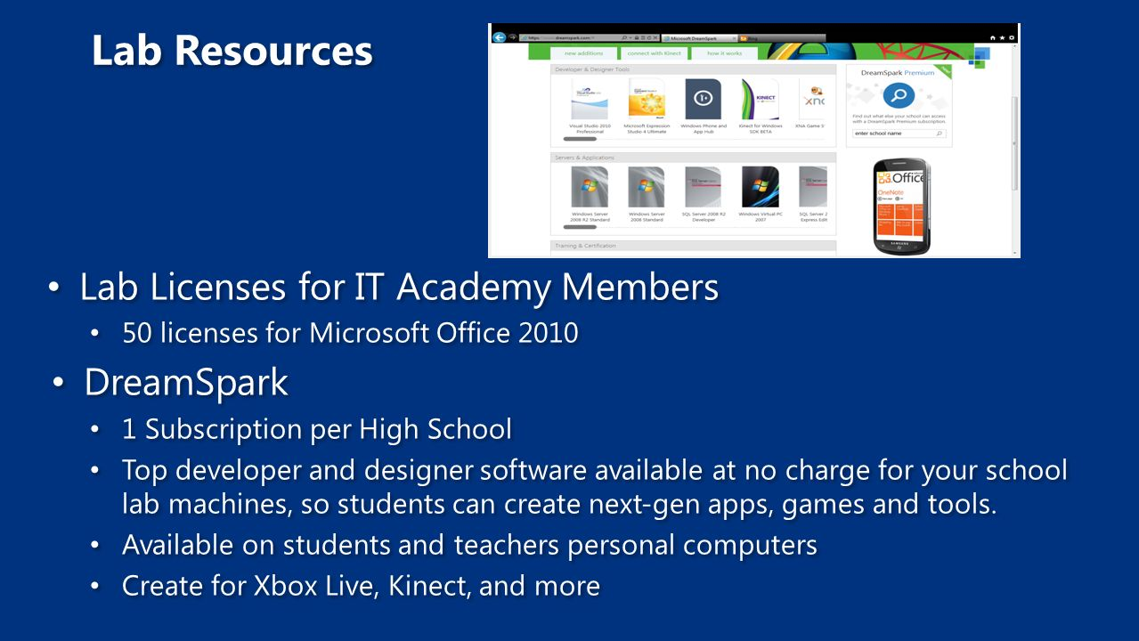 Lab Licenses for IT Academy Members 50 licenses for Microsoft Office 2010 DreamSpark 1 Subscription per High School Top developer and designer software available at no charge for your school lab machines, so students can create next-gen apps, games and tools.