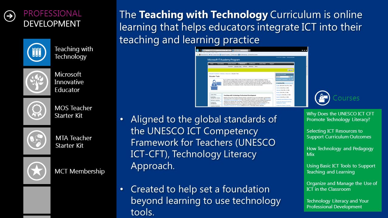 PROFESSIONAL DEVELOPMENT Teaching with Technology Microsoft Innovative Educator MOS Teacher Starter Kit MCT Membership MTA Teacher Starter Kit Courses Why Does the UNESCO ICT CFT Promote Technology Literacy.