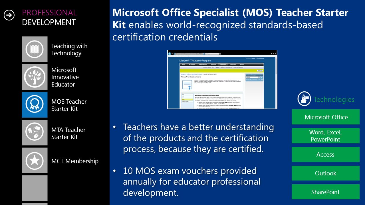 PROFESSIONAL DEVELOPMENT Microsoft Office Specialist (MOS) Teacher Starter Kit enables world-recognized standards-based certification credentials Teac