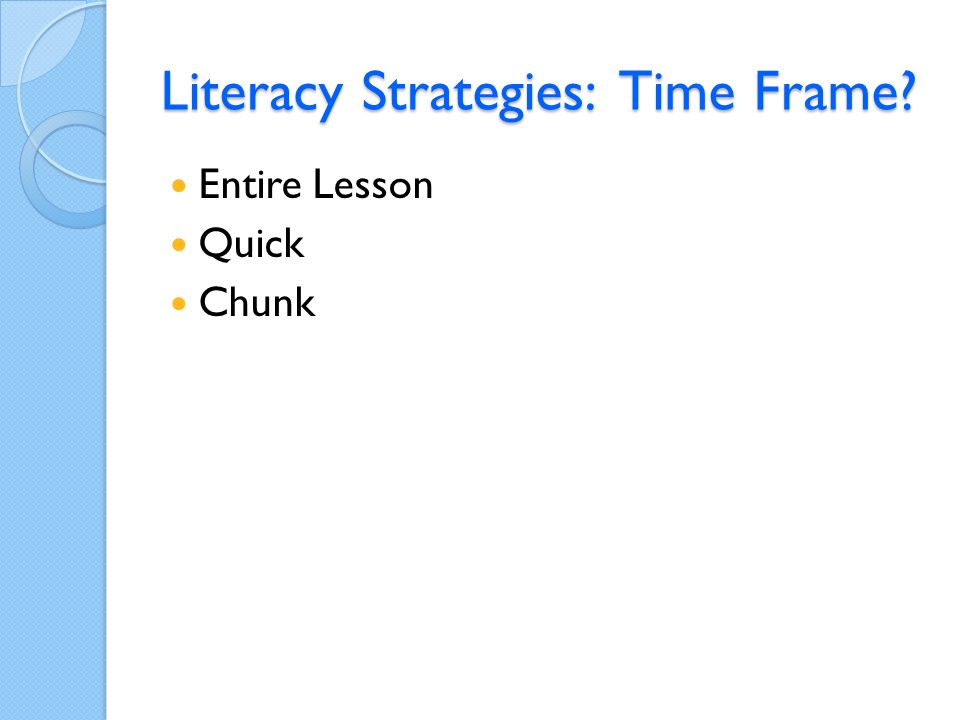 Literacy Strategies: Time Frame Entire Lesson Quick Chunk