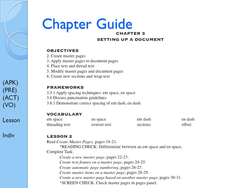 Chapter Guide (APK) (PRE) (ACT) (VO) Lesson Indiv