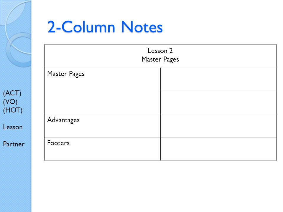 2-Column Notes Lesson 2 Master Pages Advantages Footers (ACT) (VO) (HOT) Lesson Partner