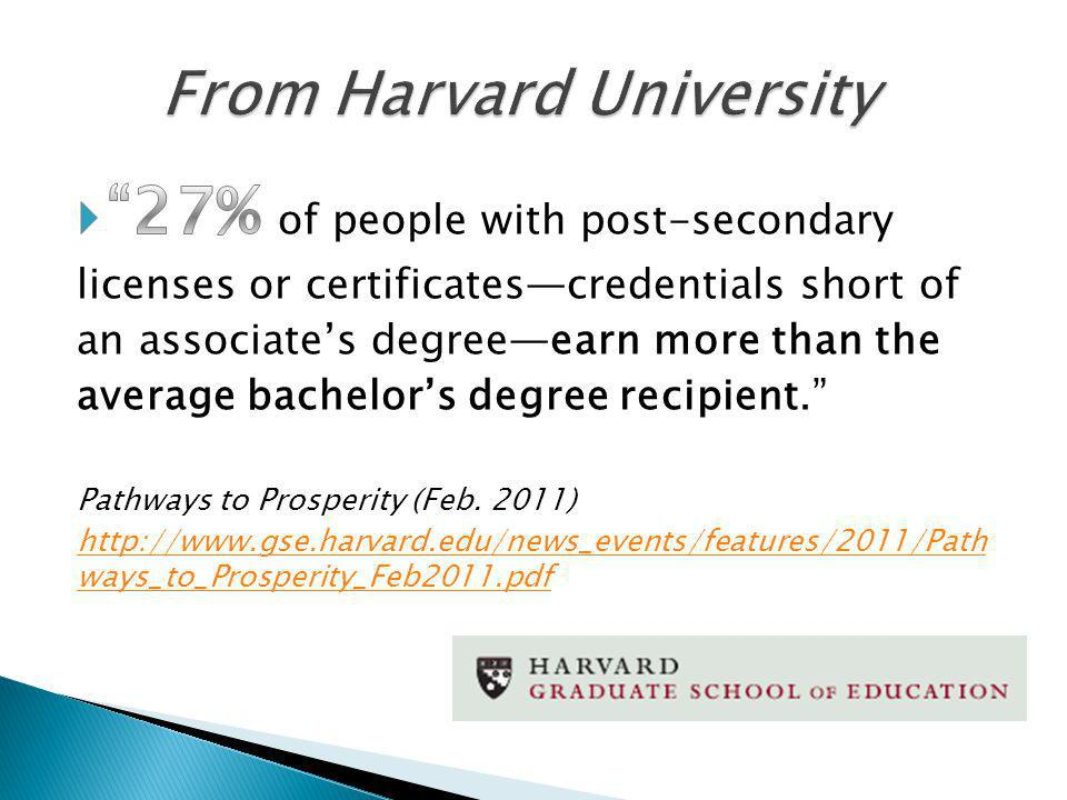 Students who earn credentials in occupational programs can have substantial earnings advantages over those earning traditional academic degrees (Emphasis Added) - California State University - Sacramento http://www.csus.edu/ihelp/PDFs/R_Road_Less_Traveled_02_11.pdf