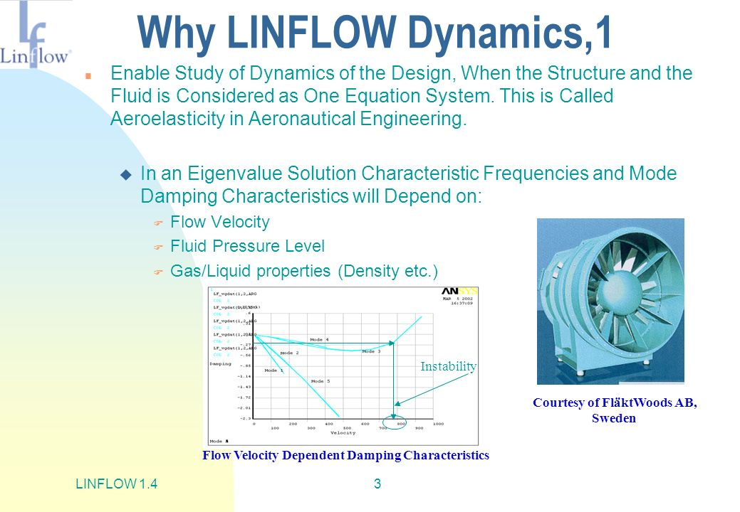 LINFLOW 1.43 Why LINFLOW Dynamics,1 n Enable Study of Dynamics of the Design, When the Structure and the Fluid is Considered as One Equation System. T