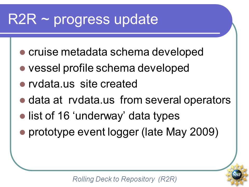 Rolling Deck to Repository (R2R) R2R ~ progress update cruise metadata schema developed vessel profile schema developed rvdata.us site created data at