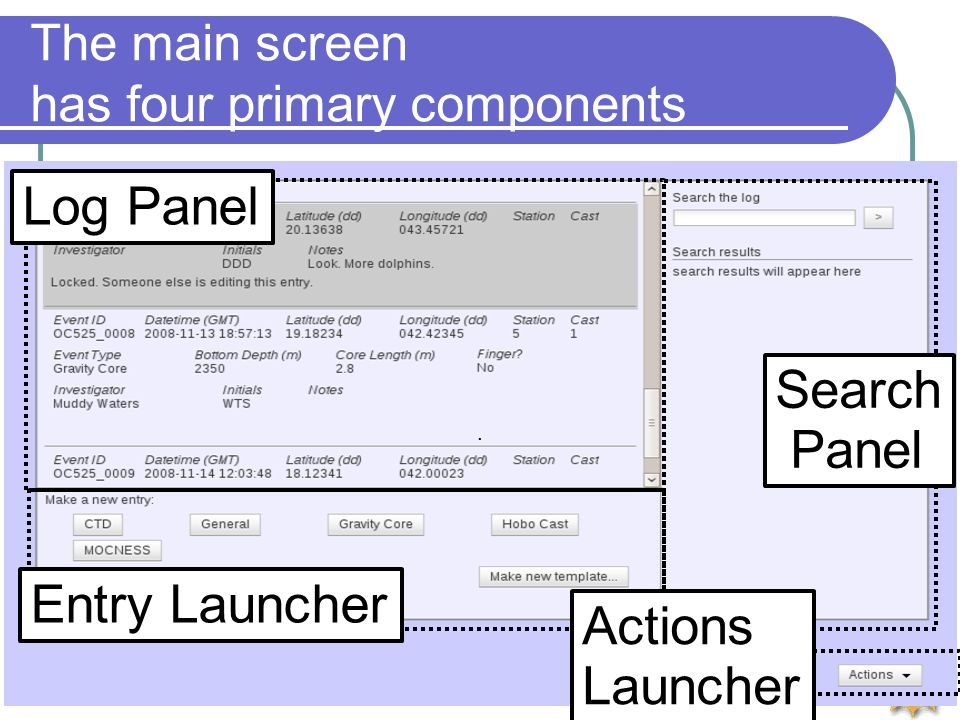 Rolling Deck to Repository (R2R) The main screen has four primary components. Log Panel Entry Launcher Search Panel Actions Launcher