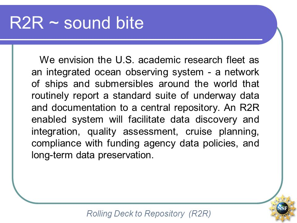 Rolling Deck to Repository (R2R) More on what is R2R.