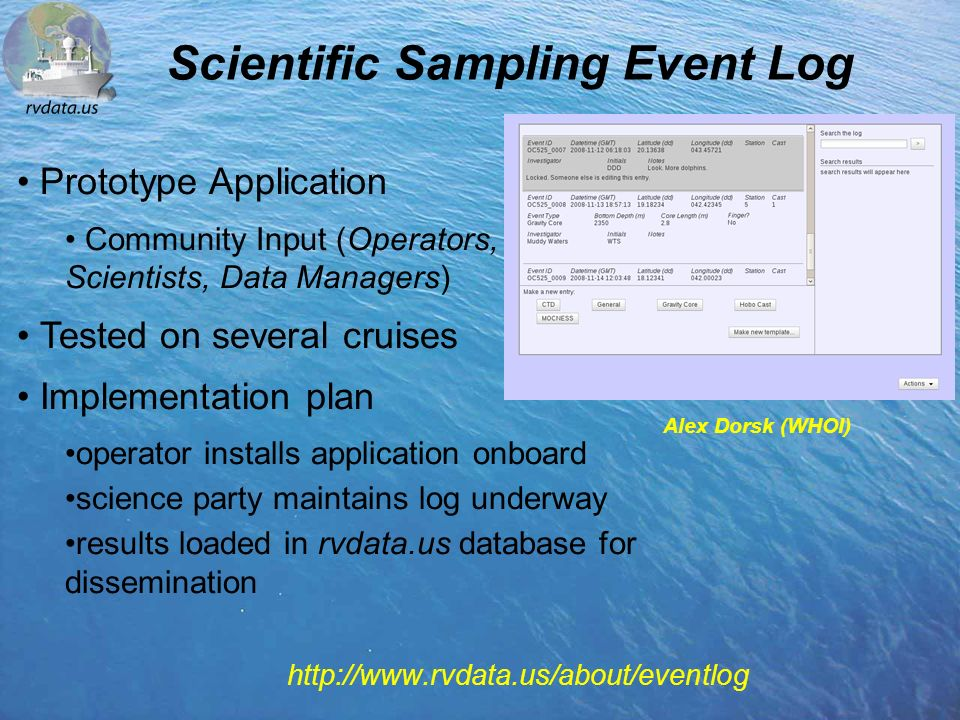 http://www.rvdata.us/about/eventlog Alex Dorsk (WHOI) Prototype Application Community Input (Operators, Scientists, Data Managers) Tested on several cruises Implementation plan operator installs application onboard science party maintains log underway results loaded in rvdata.us database for dissemination Scientific Sampling Event Log