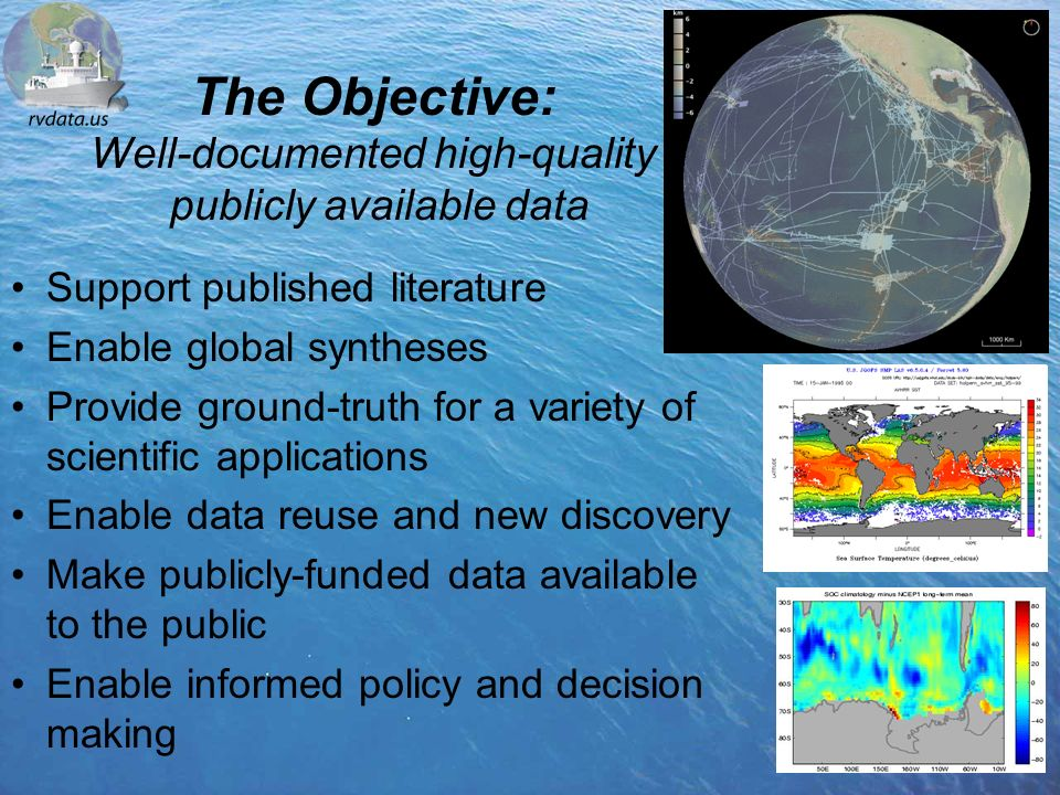 The Objective: Well-documented high-quality publicly available data Support published literature Enable global syntheses Provide ground-truth for a variety of scientific applications Enable data reuse and new discovery Make publicly-funded data available to the public Enable informed policy and decision making