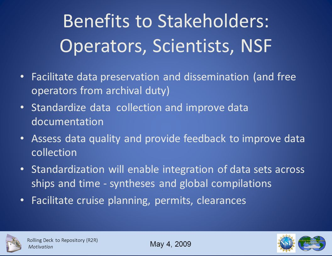 Rolling Deck to Repository (R2R) Motivation May 4, 2009 Who could participate in R2R UNOLS 61 member institutions NOAA.