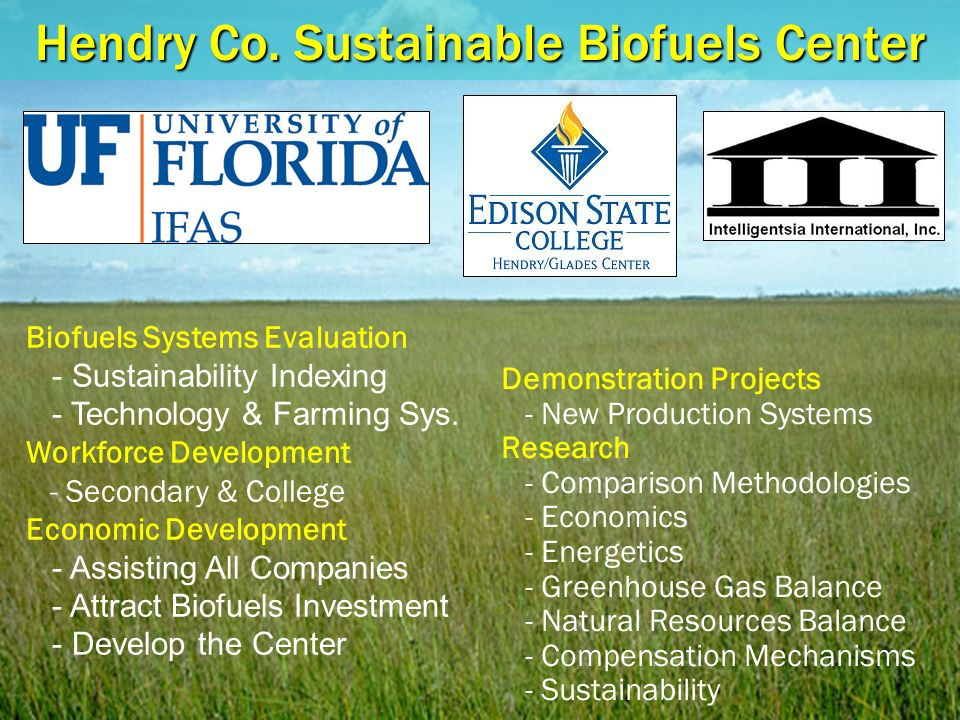 Hendry Co. Sustainable Biofuels Center Demonstration Projects - New Production Systems Research - Comparison Methodologies - Economics - Energetics -