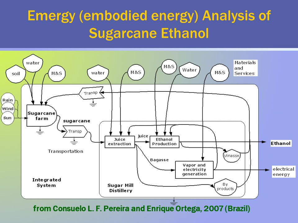 Emergy (embodied energy) Analysis of Sugarcane Ethanol from Consuelo L.