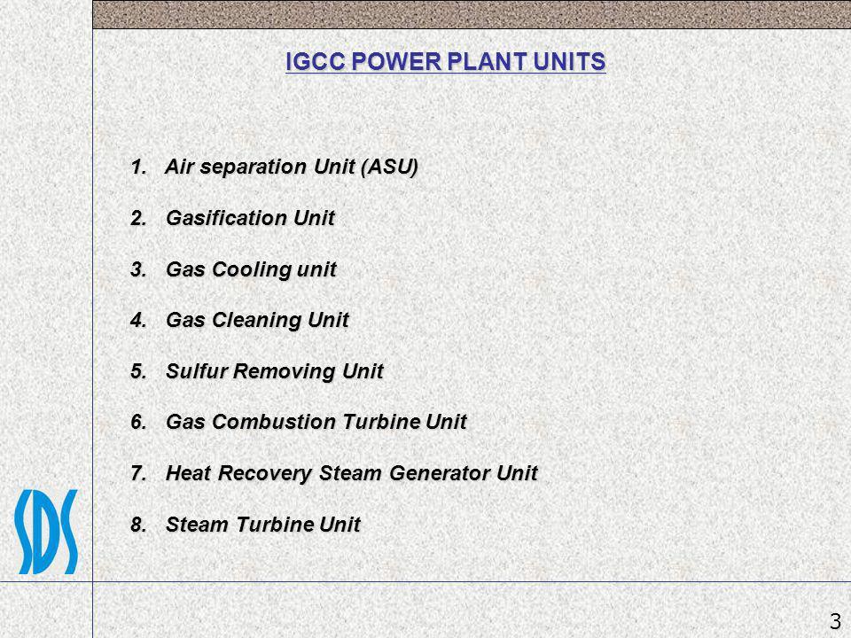 IGCC POWER PLANT UNITS 1. Air separation Unit (ASU) 2. Gasification Unit 3. Gas Cooling unit 4. Gas Cleaning Unit 5. Sulfur Removing Unit 6. Gas Combu
